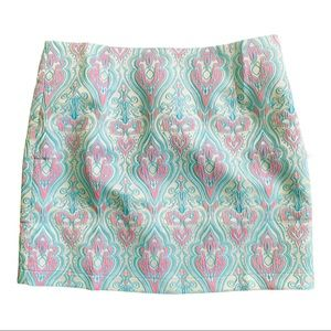 Verty Blue Pink Damask Textured Mini Skirt NWOT